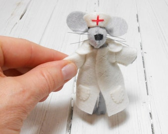Nurse Felt mouse brooch nurse gift get well soon giftn wishing well best friend red white textile brooch embroidered kawaii felt girl brooch