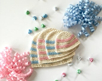 Organic Cotton Baby Hat - Sweet Stripes Baby Hat - Organic Cotton Baby Hat - Cream, Pink, Blue Organic Cotton