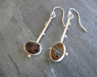 Assymetrical Montana Agate Earrings in Sterling Silver