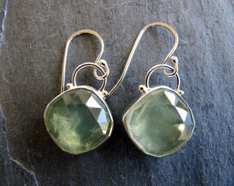 Earrings of Large Faceted Prehnite and Sterling Silver