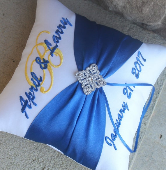 Wedding Ring Bearer Pillow, Personalized, Monogrammed, Custom Wedding Decor, Design Your Own, Diamond Deco Rhinestone, Royal Blue Horizon