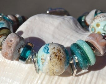 SEA RELIC-Handmade Lampwork and Sterling Silver Bracelet
