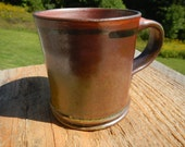 Temmoku coffee mug, wood-fired mug, pottery, tea mug, stoneware, split-fire pottery, purple, plum, green, ceramic,