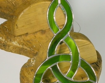 Moss green Stained glass Celtic Knot Suncatcher  & Window ornament