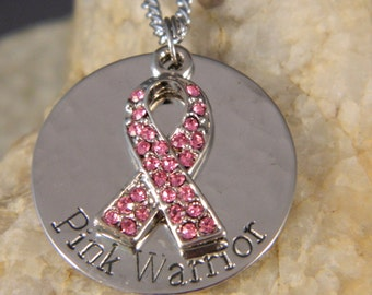 Pink Warrior Breast Cancer Crystal Ribbon Necklace