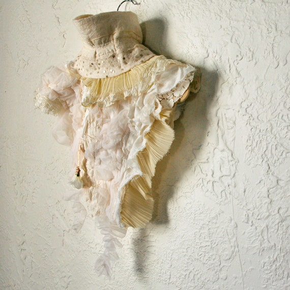 upcycled clothing, wearable art capelet . XS - S