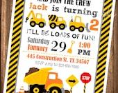 Construction Invitations, PRINTABLE Construction Invitations, Dump Truck Invites, Digital Invitations