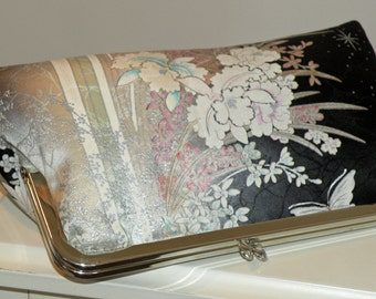 Silk Kimono Fabric Clutch/Bag/Purse/Cherry Blossom/Orchid/Rose/Butterfly/Black/Ivory/Seafoam/Long Island Bride/Wedding Gift/Scarf/Wrap/Shawl