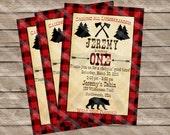 Lumberjack Party Invitation Northwoods Cabin First Birthday Personalized Digital Sheet