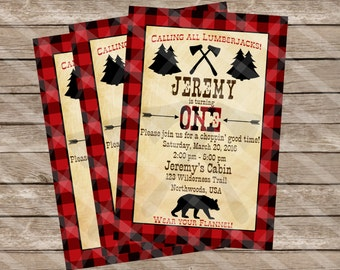 Lumberjack Party Invitation Northwoods Cabin First Birthday Personalized Digital Sheet