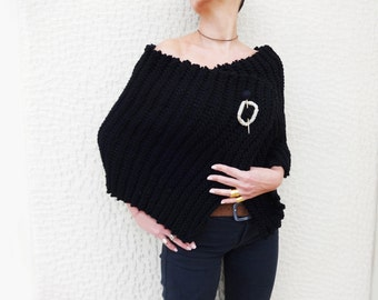 Black WRAP Handknit Shawl, Women's Stylish Unique Shoulder Warmer with Pin