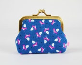 Frame coin purse - Tiny foxes in blue and purple - Deep mum / Kawaii japanese fabric / Minny muu / tiny stars / white and mauve / woodland