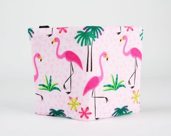 Fabric card holder - Big flamingo and palm trees / Summer print / Pink green lime