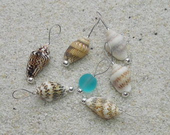 Seashell Knitting Stitch Markers - snag free loop markers - tiny seashell and beach sea glass beads - three loop sizes available