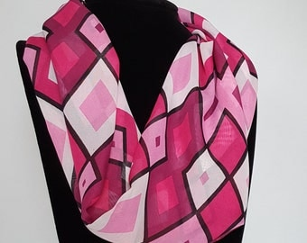 Pink Harlequin Infinity Scarf