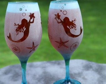 Mermaids Frosted Etched Wine Glasses Set Of 2 Multiple colors and styles  available