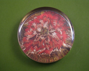 Floral Embroidered Coverlet Large Round Glass Paperweight Red English Embroidery