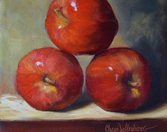 Three Red Stacked Apples,Still Life Painting, Balancing Apple Act, Original Oil on Canvas by Cheri Wollenberg
