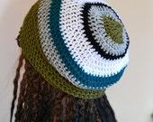 "ON Sale Mens, Crochet Slouch, Oversized Beanie, Slouchy Tam, Womens, Dreads, Khaki White Teal Black Grey Hat 20"" - 26"""