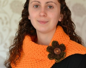Orange Chunky Knit Cowl Neckwarmer, Winter Accessory
