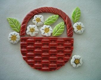 KW - BASKET of FLOWERS - Ceramic Mosaic Tiles