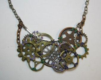 An Arrangement of Cogs - 3 Custom Thread Colors - Steampunk Necklace