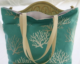 Coral on Aqua -Beach Tote- Overnight Bag- 6- Outer Pockets Water and Mildew Resistant Interior