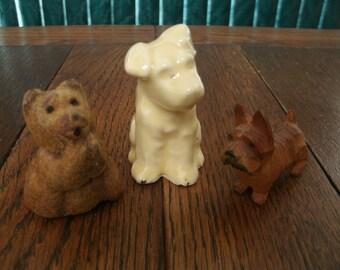 Vintage Animal Figurine Group Scotty Skippy Prayer Bear