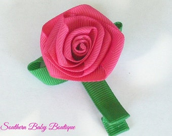 New Item---Boutique Hand Sculpted Ribbon 3-D Hair Clip Clippie---ROSE GARDEN---Shocking Pink-----
