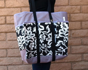 Lavender, black and white Market Bag, Market Tote, Wine Bag, Shopping Bag, Craft Bag, Craft Tote, Shopping Tote or Diaper bag