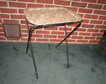 Vintage Mid Century Metal TV Snack Tray Table with Folding Stand