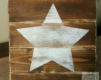 Handpainted Rustic Star Pallet Sign