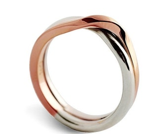 ON SALE - LOVE Knot White and Rose gold wedding band, unique wedding ring, alternative mens womens wedding ring, two tone ring