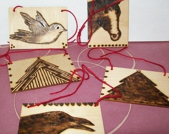 Old-Fashioned Christmas Tree Ornaments, Folk Art Wood, Farmhouse Decorating, OOAK Woodburned Horse Crow, Cabin Home Decor, Sepia and Brown