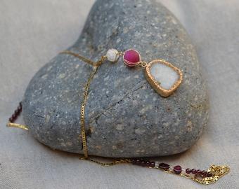 Snow White  Druzy Quartz Necklace.  Gold Druzy Agate Electroformed Pendant. Garnets and Quartz on Gold Filled Chain. Gold Edged Druzy Agate.