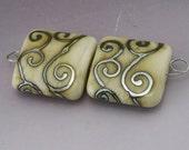 SRA Handmade Lampwork Beads Metallic Silver Scrolls Ivory Cream Square Tile Earring Pair Heather Behrendt BHV LETeam