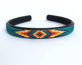 Headband - Navajo-Beaded - Matte Teal Green - Native American