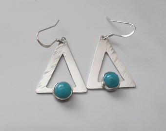 Blue Earrings, Amazonite on Sterling Triangle Dangles with Hammered Texture