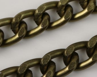 25 ft Aluminum Chain Facet Curb Chain - Antique Brass - 7x11mm 2mm thickness Chunky Unsoldered Link