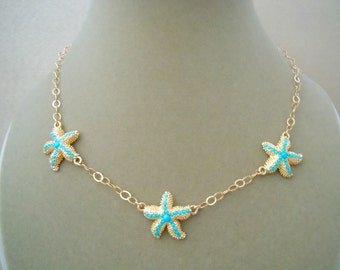 Limited Edition -- Sea Skies -- Turquoise in Gold Filled Starfish Settings on 14K Gold Filled Chain Necklace