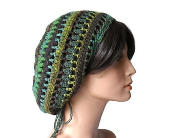 Eco Friendly Hemp Wool recyled cashmere alpaca Tam Gypsy Green and Brown Rasta Dread Woodland Fantasy Hat Cloche Free Size Ready to Ship
