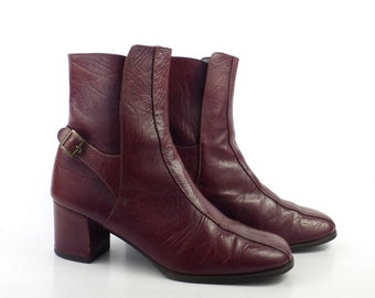 Etienne Aigner Boots Leather Vintage 1970s Wine Burgundy Oxblood Mod Short Women's size 7 1/2