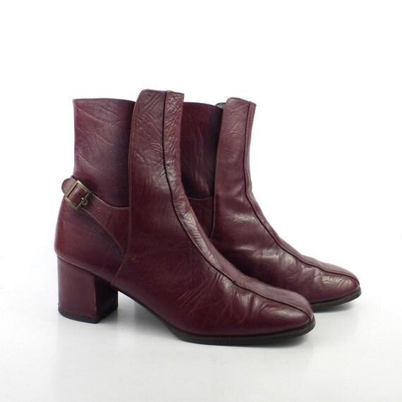 etienne aigner boots leather vintage 1970s wine burgundy
