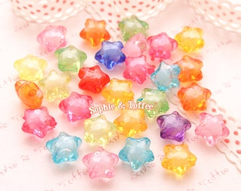 Translucent Candy Star Beads (12mm) - 116 pieces approx. | Acrylic Beads | Plastic Beads | Resin Jewelry | Kawaii Beads