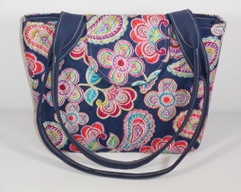 Purse Shoulder Bag Medium-Sized Flap Quilted Multi-Colored Floral and Paisley Double Straps Pockets