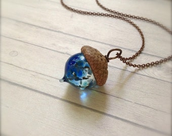 Glass Acorn Necklace - Blue Lagoon - by Bullseyebeads - Ready to Ship