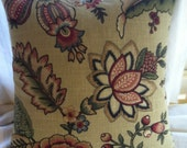 Handmade Cotton and Linen Floral  Pillow by Barneche/Stephanie Barnes