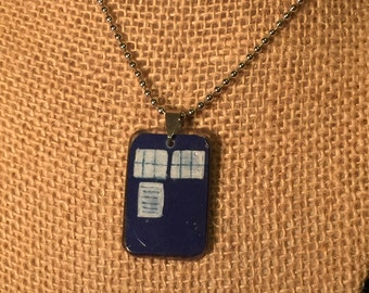 Handpainted Resin TARDIS Pendant