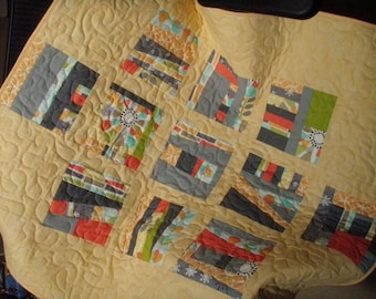 Handmade Modern Baby Quilt in Michael Miller Fabrics Quiltsy