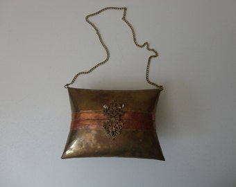 VINTAGE handmade brass and copper STATEMENT PURSE